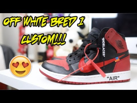 OFF WHITE AIR JORDAN 'BRED' 1 CUSTOM + TUTORIAL!!! **MUST WATCH**