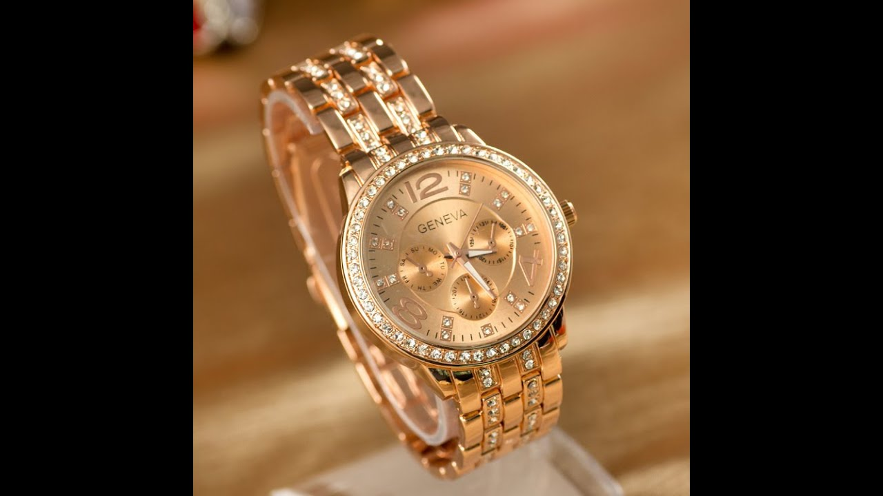 Women 39 s rhinestone watches geneva watch quartz ladies youtube for Watches geneva