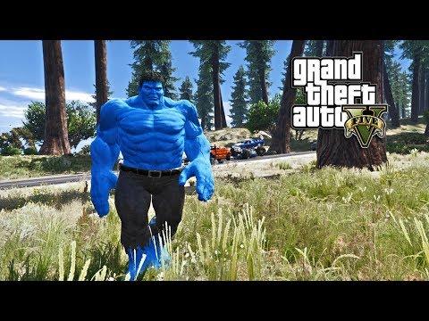 GTA 5 - BLUE HULK VS CULL OBSIDIAN AND THANOS (GTA 5 PC MODS)