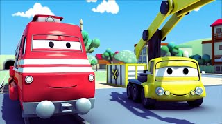 troy the train and the crane in car city   trains trucks cartoons for kids