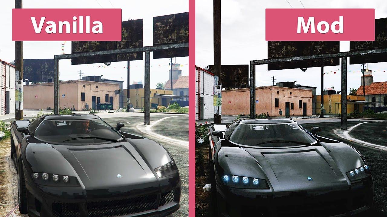 GTA 5 – Vanilla vs  Redux Mod Graphics Comparison @1080p