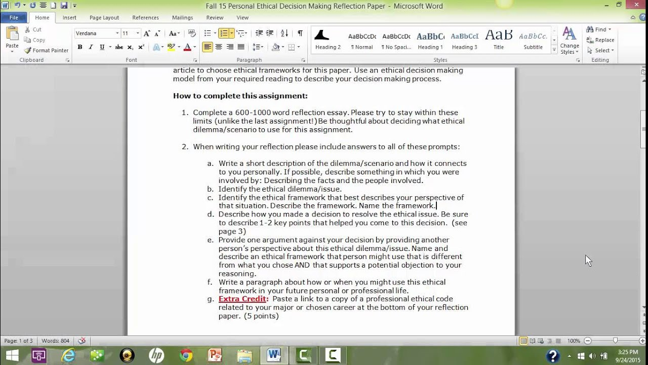 uf fall instructions for personal ethical decision making uf200 fall 2015 instructions for personal ethical decision making reflection paper