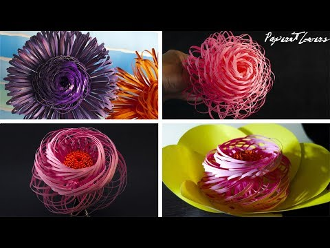 4 Fluffy Paper Flowers - DIY - Paper Craft - Home decoration