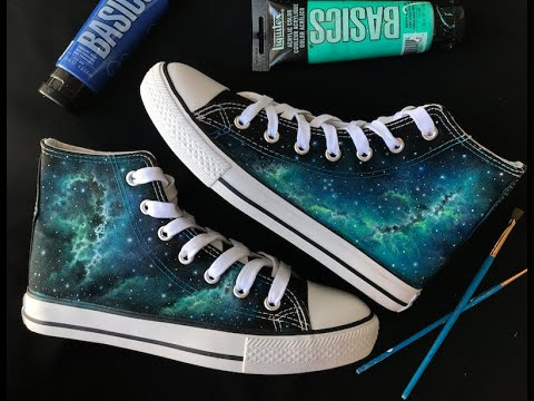 Galaxy Acrylic Painting Tutorial on Shoes by Lanchen Designs