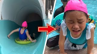 妹妹的游泳池滑水道挑戰! 然後就哭了... 義起FUN暑假 玩具開箱一起玩玩具Sunny Yummy Kids TOYs