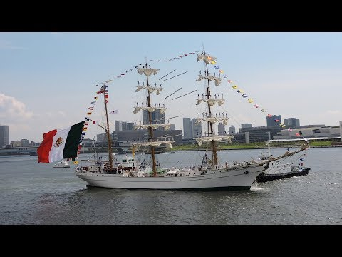 Mexican Navy Practice Sailing Ship ARM Cuauhtemoc (BE 01) Leave the Harbor Harumi at Tokyo Harbor