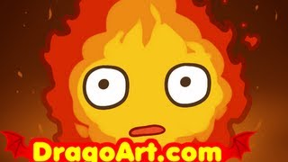 How to Draw Calcifer, Howls Moving Castle, Step by Step