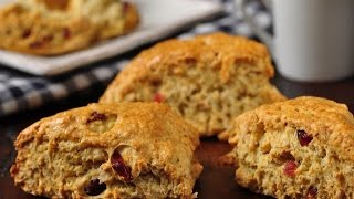Cranberry Oat Scones Recipe Demonstration - Joyofbaking.com
