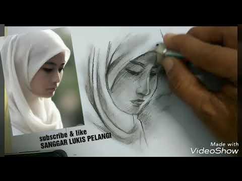 Keren Tutorial Menggambar Wajah Wanita Berhijab No Timelaps Youtube