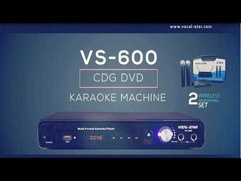 VS-600 Karaoke Machine CDG/CD/DVD Player with Wireless VHF Mics Overview
