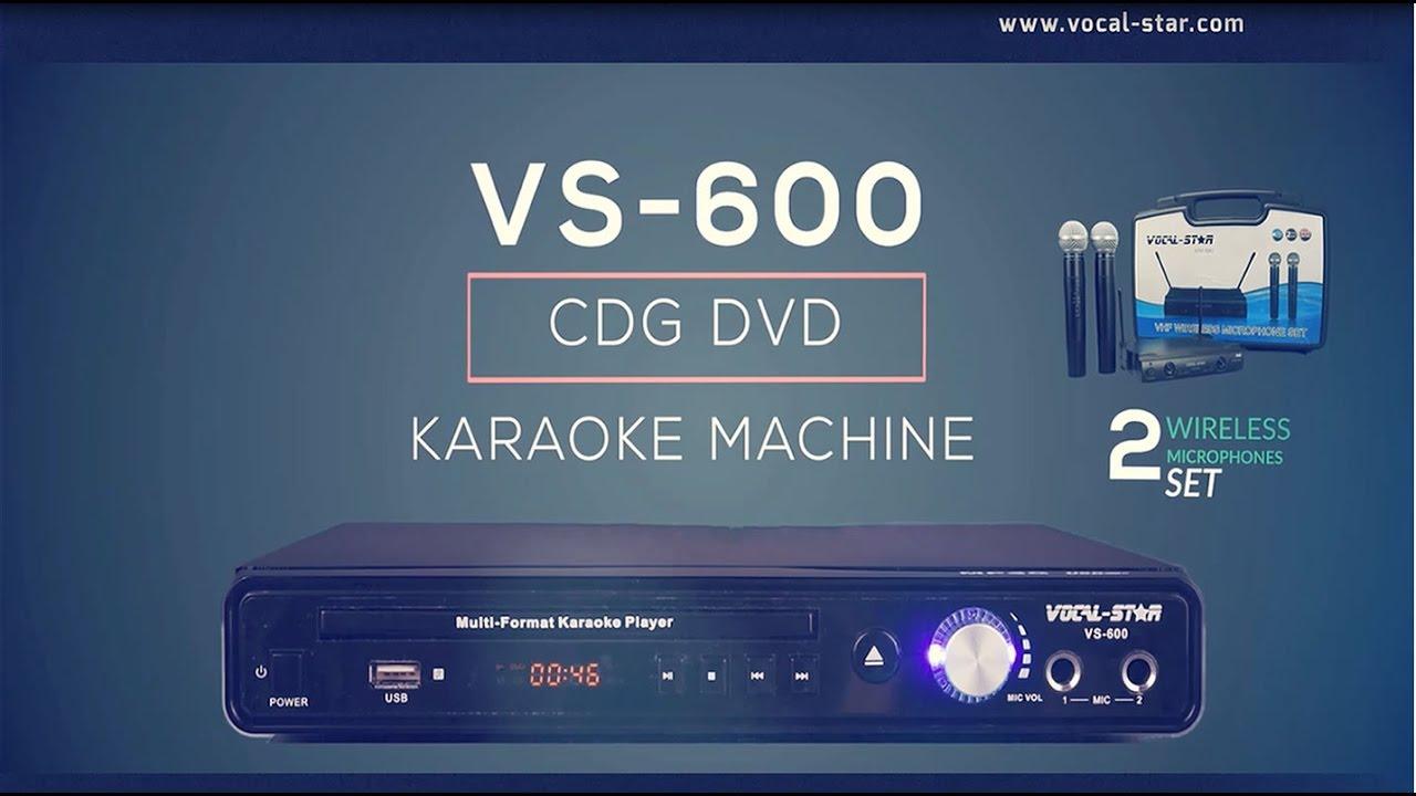 VS-600 Karaoke Machine CDG/CD/DVD Player with Wireless VHF Mics ...