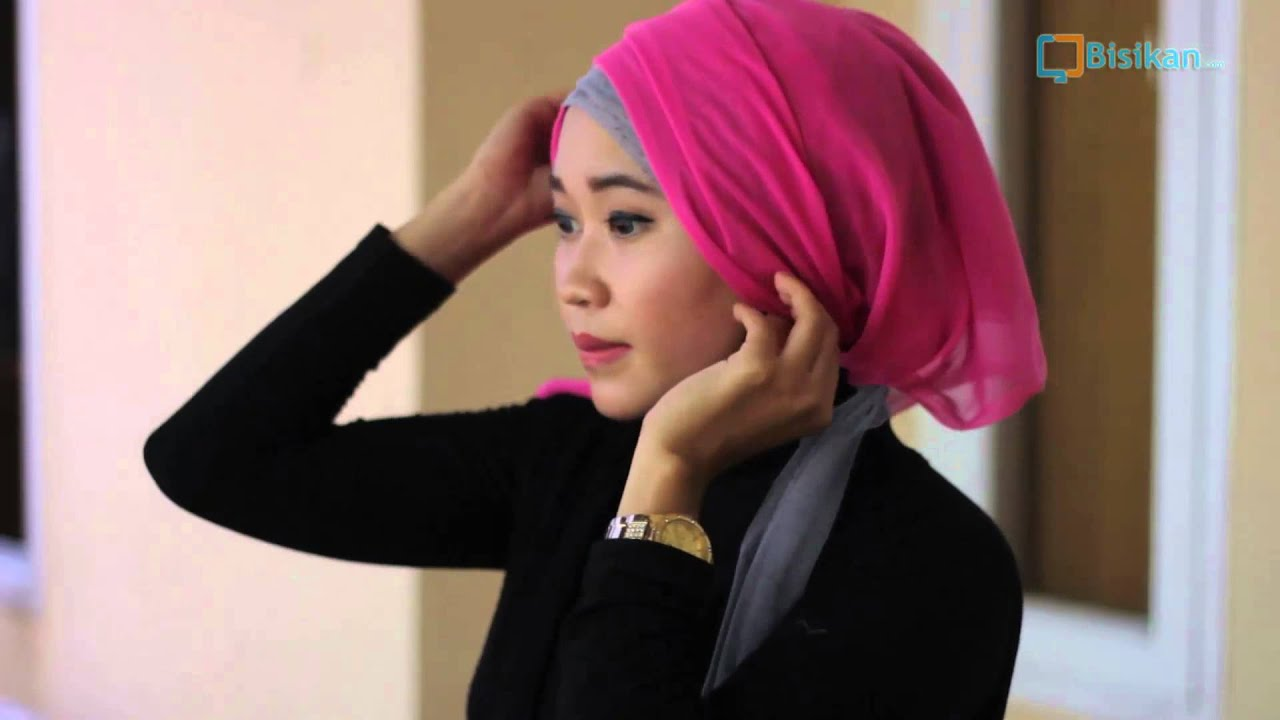 Tutorial Hijab Paris Segi Empat Ke Pesta Kombinasi Tile YouTube