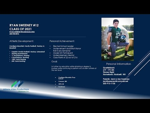 Ryan Sweeney '21 Football Cardigan Mountain School