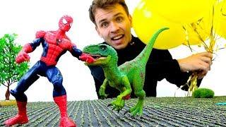 Человек Паук попал в мир Динозавров. Видео для мальчиков.