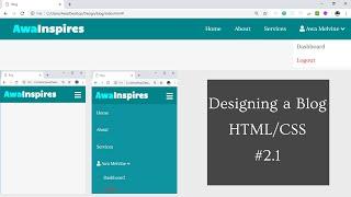 Designing a responsive Navbar with dropdown using HTML/CSS | Designing a blog website HTML/CSS #2.1