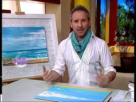 Diego Raimondo - Bienvenidas TV - pinta un Paisaje Marino con espátula,