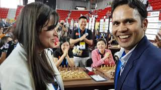 An Indian and Colombian engagement at the Batumi Olympiad   Niklesh Jain   Angela Franco
