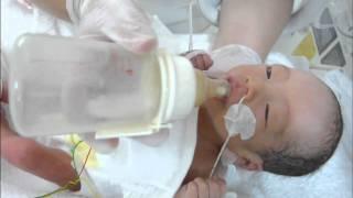 NICUの看護師が保育器の赤ちゃんにミルクを上手に飲ませているところです。