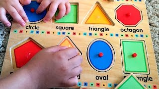 learn shapes w fun wooden toy puzzle educational baby toddler kindergarten kids let s play kids