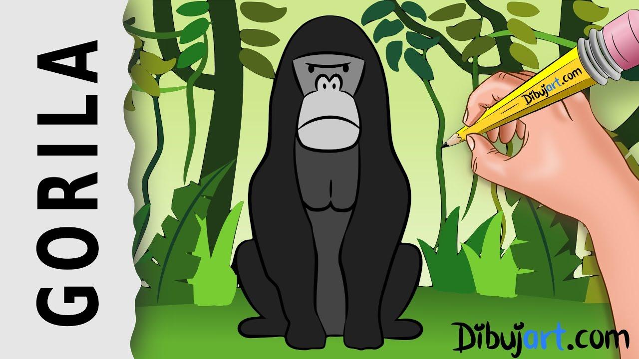 Cómo Dibujar Un Gorila Fácil Y Rápido Dibujos De La Selva Youtube