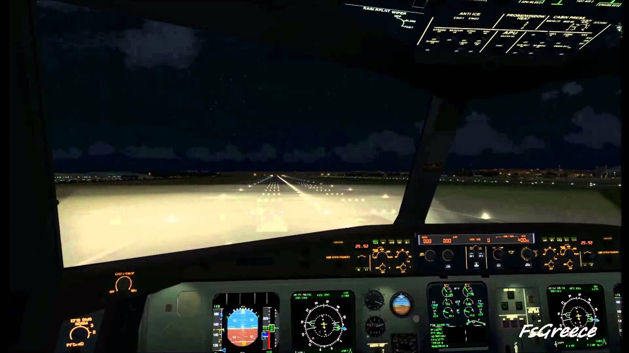 Thomas Cook A330 Cockpit Night Landing At Gatwick FSX HD ...