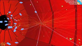 LHC collision event at CMS showing four high energy muons (CMS Higgs search) Thumbnail