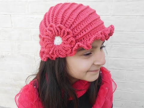 how to make crochet hat with flower design - YouTube 8803e945e