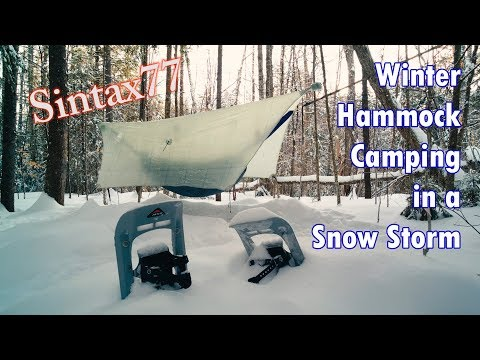 Winter Hammock Camping in a Snow Storm - Sub Zero Backpacking in the White Mountains