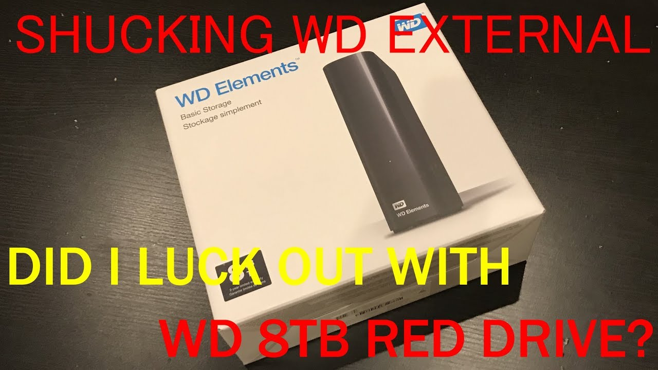 Shucking Opening 8TB WD Elements External Hard Drive HDD White Label Red