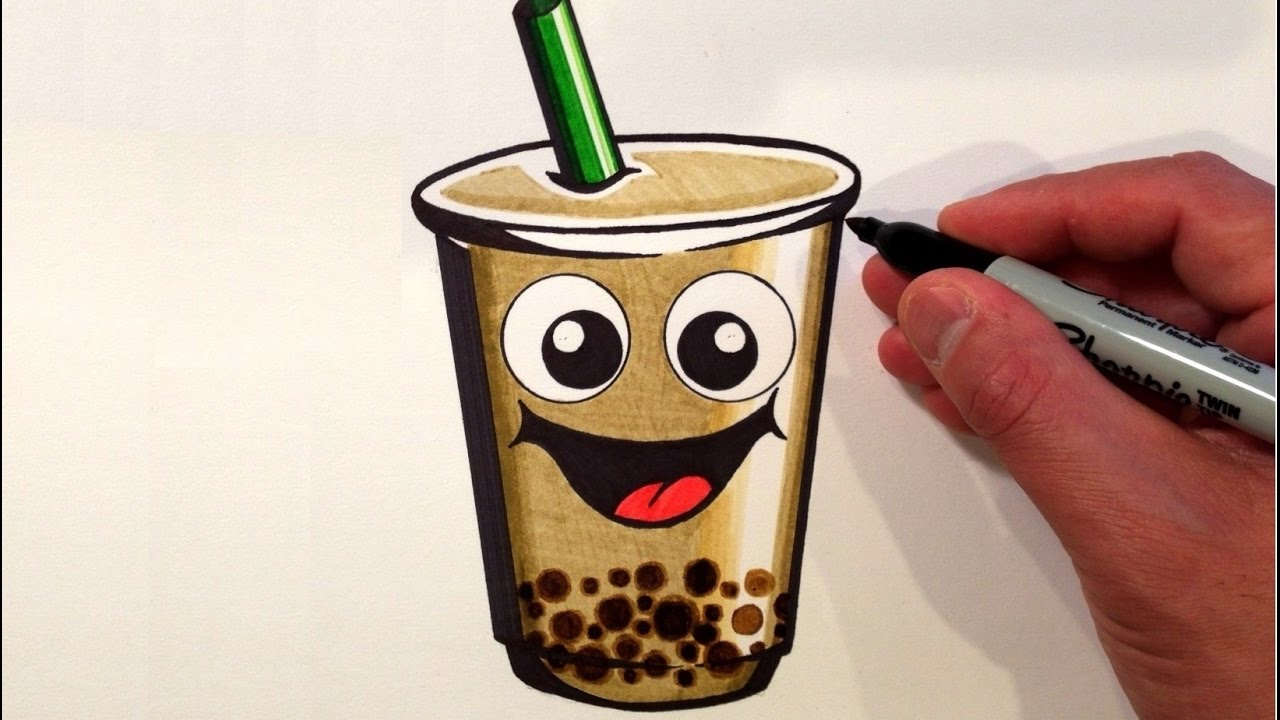 It is a graphic of Effortless Boba Tea Drawing