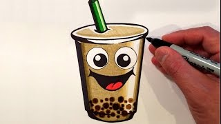 How to Draw a Cute Bubble Tea Smiley Face