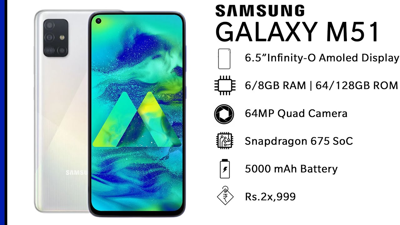 Samsung Galaxy M51 Specs And Price India Launch Date July 2020 64mp Quad Camera Youtube