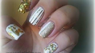 Tutorial Nail Art smalto bianco e foil oro