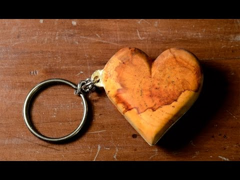 DIY - Make a Heart Keyring with Brass & AppleWood / Valentine day's project