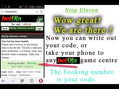 How to create booking number in bet9ja