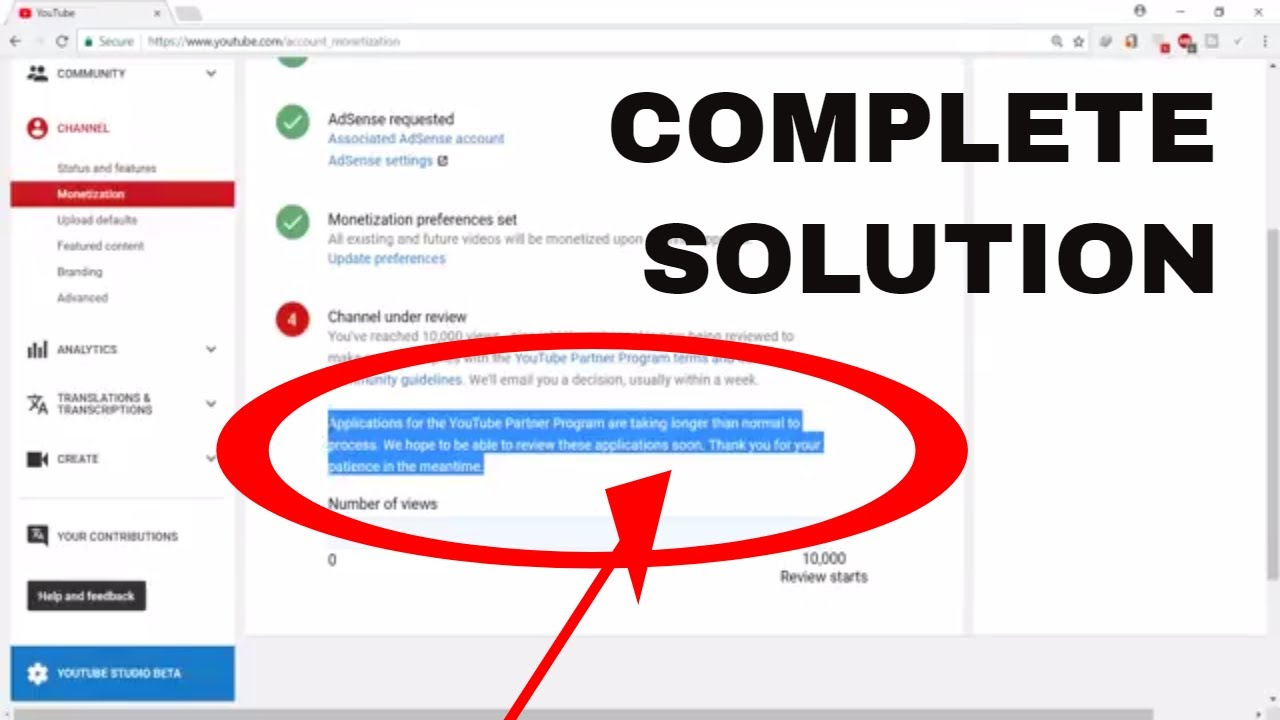 Youtube Monetization Not Enabled After 10k views | SOLUTION EXPLAIN