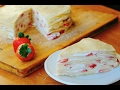 How To Make a STRAWBERRY MILLE CREPE CAKE    Yumeiro Patissiere inspired
