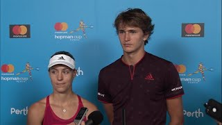 Angelique kerber and alexander zverev talk about their loss in the final to team switzerland look back at performance this years cup.