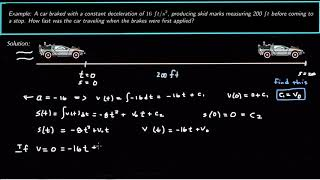 A Car Brakes wİth a Constant Deceleration:: Find Initial Velocity :: Applications of Antiderivatives