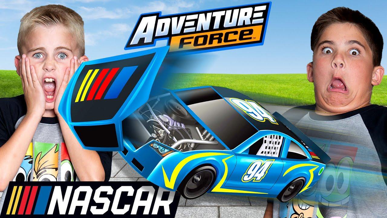 Fastest Car WINS!  HobbyKids Race at NASCAR?! We Meet Kyle Busch IRL