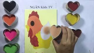 [Tập 4] - Tô màu tranh cát Chú gà trống - Colored sand painting toys