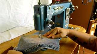 Morse straight stitch sewing machine demonstration