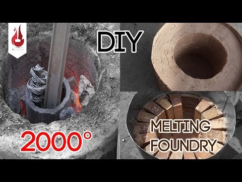 metal melting furnace from oil barrel