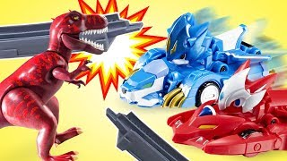 Видео для детей. Монкарт. Трансформеры Драка и Лео, тираннозавр Плеймобиль и роботы-поезда