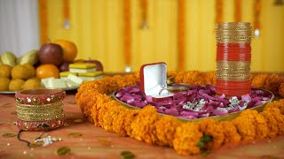 Closeup shot of wedding items placed on a decorated platform - Indian wedding / shaadi