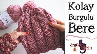 Kolay Burgulu Şapka / Örgü Bere Modelleri