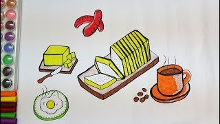 BREAKFAST DRAWING AND COLORING PAGE FOR KIDS-LEARN COLOR DRAWING ART FOR KIDS