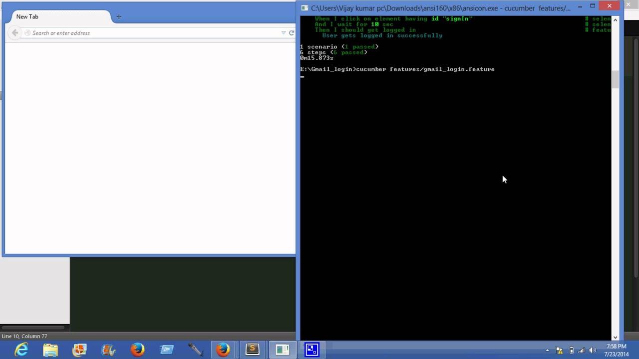 Gmail login automation using selenium-cucumber