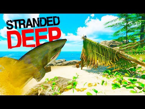 SAND SHARK ATTACKS ON LAND!? Resource Gathering for the Base! - Stranded Deep 2017 Gameplay Part 5
