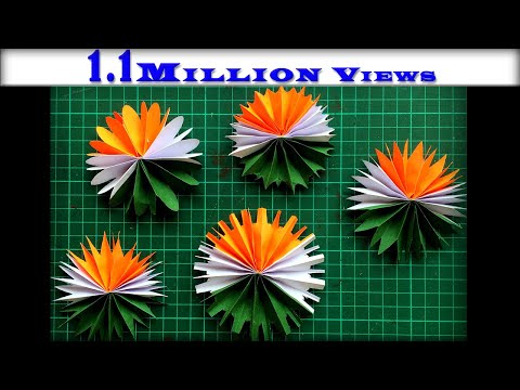 DIY Paper Flower Making   Tricolor   Republic Day Craft   Independence Day Craft